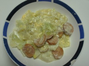 Scalloped Cabbage with Smoked Sausage