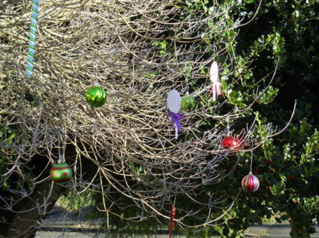 Closeup of decorations on tree.