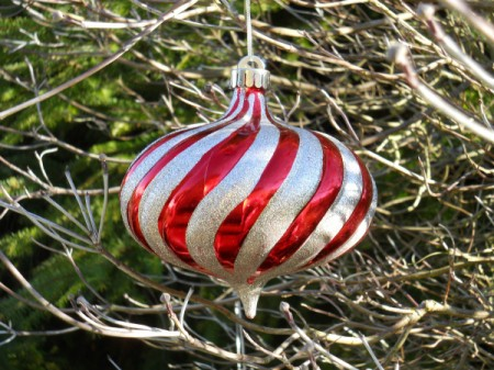 Closeup of red and white striped ornament.