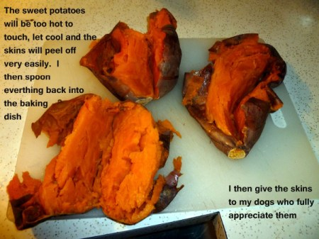 Cut cooked sweet potatoes.