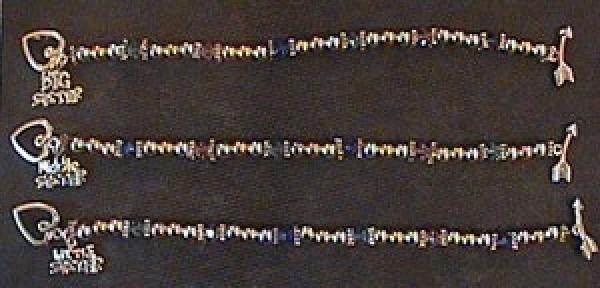 Three finished bracelets.
