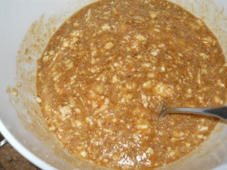 Mixing wet ingredients.