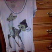 Front of thin shirt with Bambi screen print.