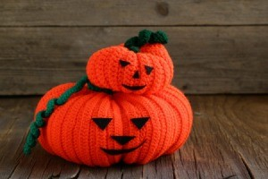 Two Crocheted Jack-O-Lanterns