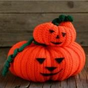 Two Crocheted Jack-O-Lanterns