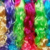Rainbow of Dyed Synthetic Wigs