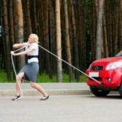 Blonde Towing Car