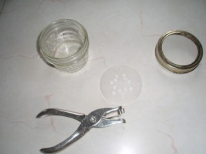 Homemade Seed Sprouter - jar lid and hole punch