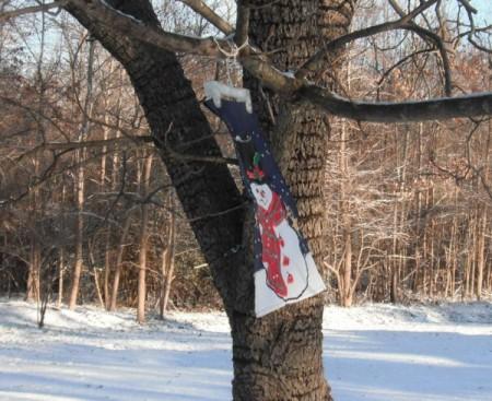 Snowman garden flag weather vane.