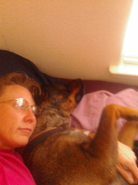 Woman and her dog.