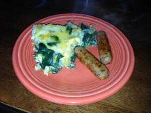 Finished plate of frittata and sausage