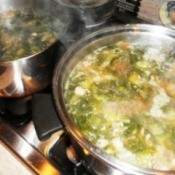 Soup pots on stove