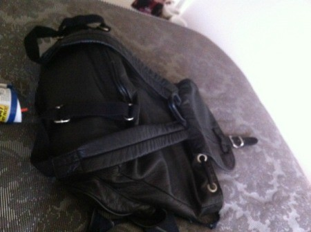 Backpack on chair.