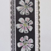 Black and white cosmos flower card.