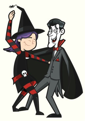 Dracula and a witch dancing.