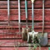 Garden Tools on Shed Wall