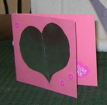 Foil heart on pink card.