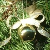 Closeup of ornament on tree.