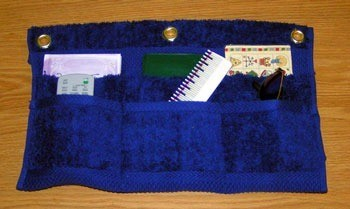 Blue towel organizer.