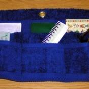 Blue towel organizer.
