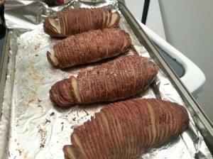 potato fans on cookie sheet