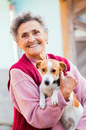 Woman with Adopted Dog