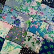 Patchwork quilt in blue florals.