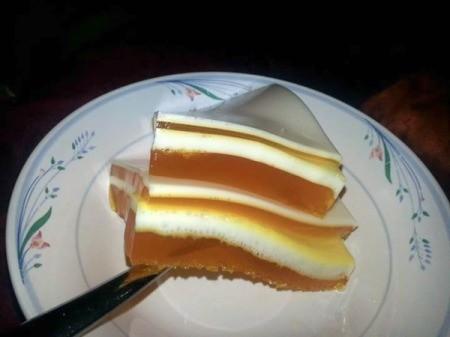 mango cream ribbon jello