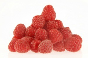 A stack of raspberries.