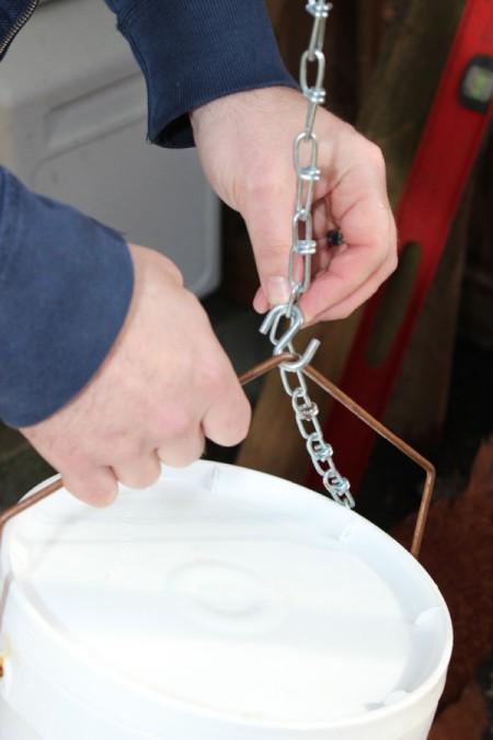 hanging bucket on chain