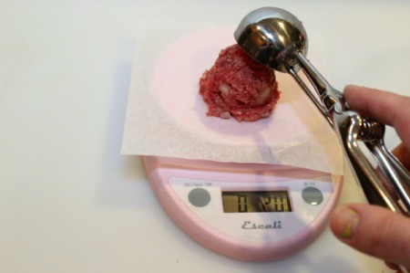 Making Slider Patties - weigh meat