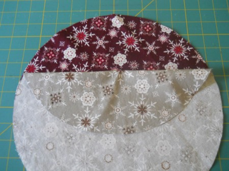 Two fabric circles with right sides together.