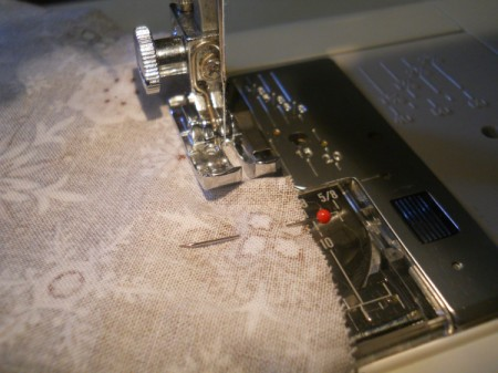 Sewing the seam on circle.