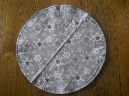 Full circle view of 2.25 inch seams on gray side.
