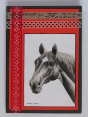 "A handmade ""love of horses"" greeting card."