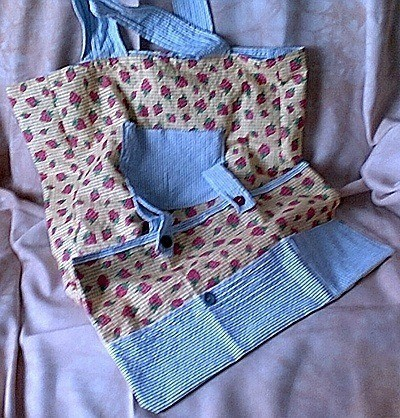 fabric grocery bag with contrasting straps