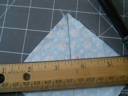 Marking fabric to draw sewing lines.