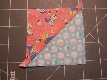 Opening the square along stitching line.