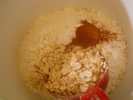 Adding cinnamon, salt, and baking soda to dry ingredients.