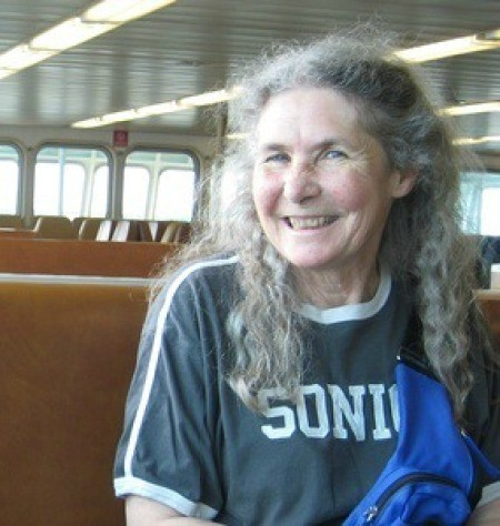 Susan smiling on the ferry.