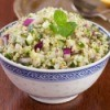 Dish of bulgur salad.