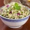 Dish of bulgur salad.