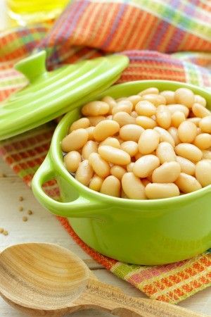 White Beans in Small Green Crock