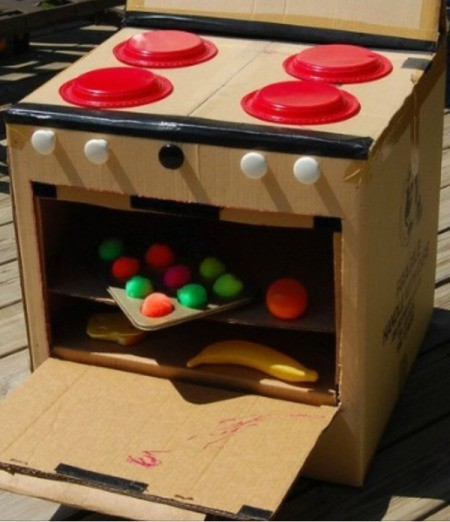 Making Your Own Kitchen Play Appliances -  cardboard box stove