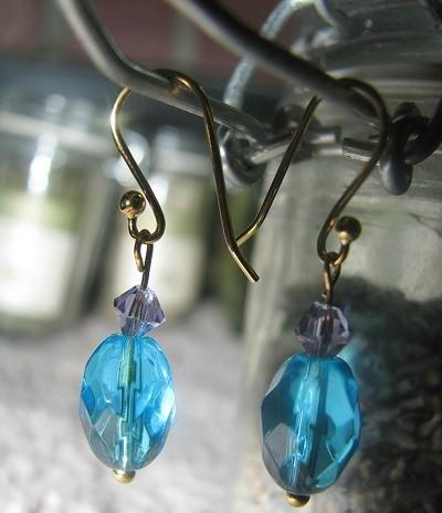 Blue drop earrings.