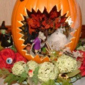 Pumpkin Centerpiece - with mini scene inside