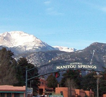 Entrance to Manitou Springs With Pikes Peak in the Background