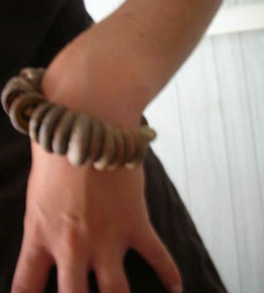Bracelet on wrist.
