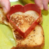 Heart Shaped grilled cheese sandwich