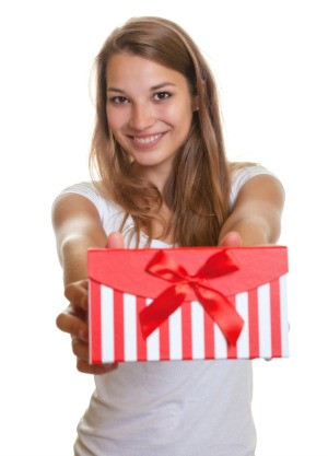 Teenager Holding Gift